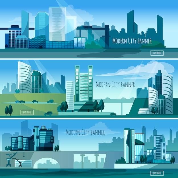 Banners moderni di paesaggi urbani Vettore gratuito