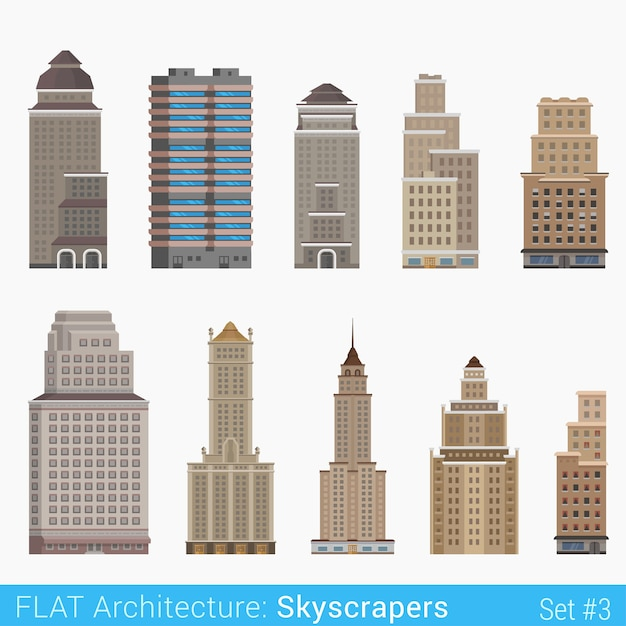 Modern classic buildings skyscrapers set city  elements stylish  architecture collection Free Vector