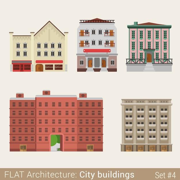 近代的な古典的な市の建物セット学校大学図書館の家都市の要素スタイリッシュな建築コレクション 無料ベクター