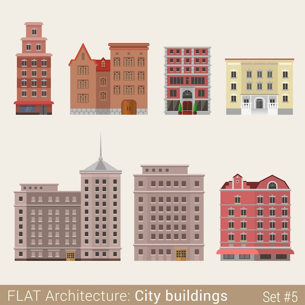 Modern classic municipal buildings small shop cafe set school university library house city  elements stylish  architecture collection Free Vector