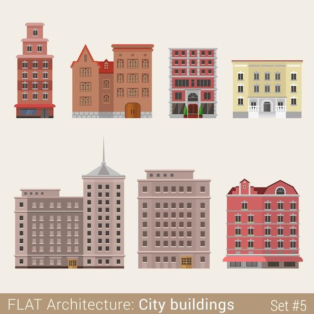 モダンクラシック市庁舎小さなショップカフェセット学校大学図書館の家都市の要素スタイリッシュな建築コレクション 無料ベクター