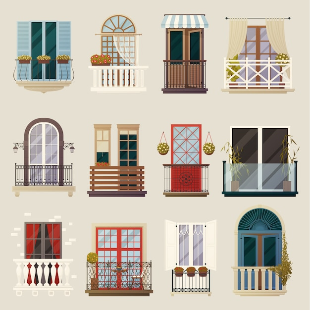 Modern classic vintage balcony elements collection Free Vector