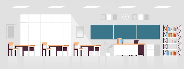 Modern classroom interior empty no people school class room with board chairs and desks Premium Vector