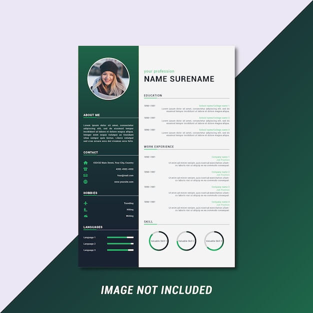 Modern and clean curriculum vitae template design Premium Vector