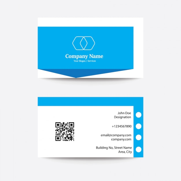 Modern Clean Flat Design Blue White Business Visiting Card Premium Vector