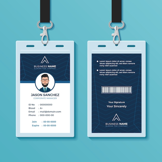 Modern and clean id card design template Vector | Premium