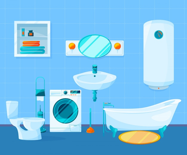 Modern clean interior of bathroom. vector pictures in cartoon style. Premium Vector