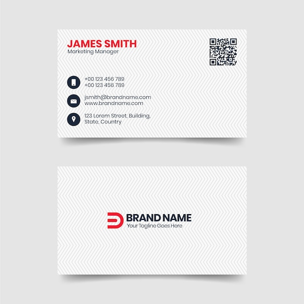 Modern clean and simple white business card template Premium Vector