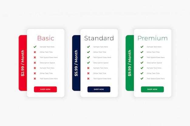 현대 깨끗 한 웹 사이트 가격표 비즈니스 템플릿 무료 벡터