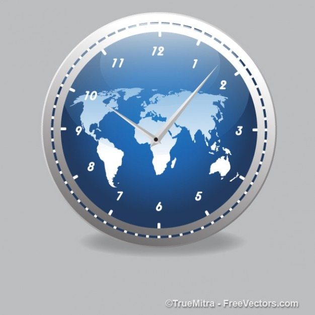 Modern clock with world map vector free download modern clock with world map free vector gumiabroncs Images