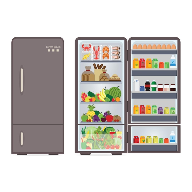 Modern closed and opened refrigerator full of food and drink, beverages, fruit,vegetable and seafood isolated on white background, vector illustration. Premium Vector
