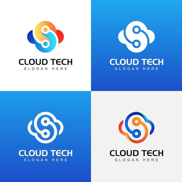 Шаблон коллекции логотипа современные облачные технологии Premium векторы