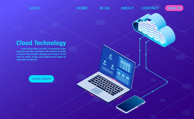 Modern cloud technology and networking . online computing technology. big data flow processing concept, internet data services  illustration Premium Vector