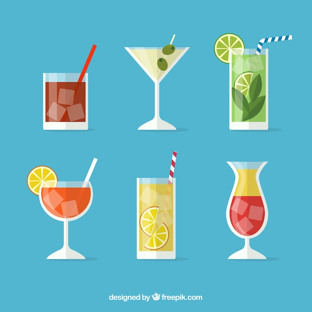 Modern cocktail collection with flat design Free Vector