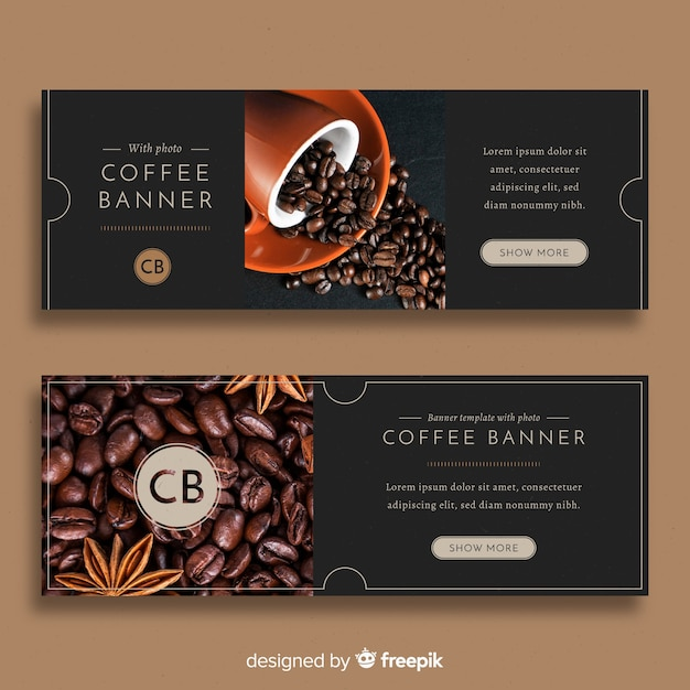 Modern coffee shop banners with photo Free Vector