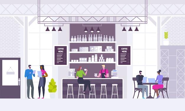 Modern coffee shop interior background Premium Vector