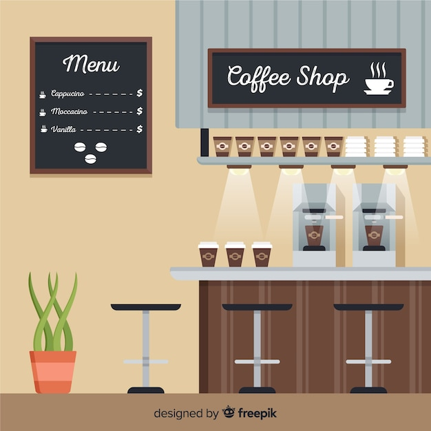 Modern coffee shop interior with flat design Free Vector