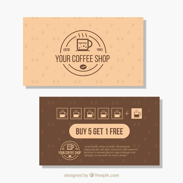Modern coffee shop loyalty card template Free Vector