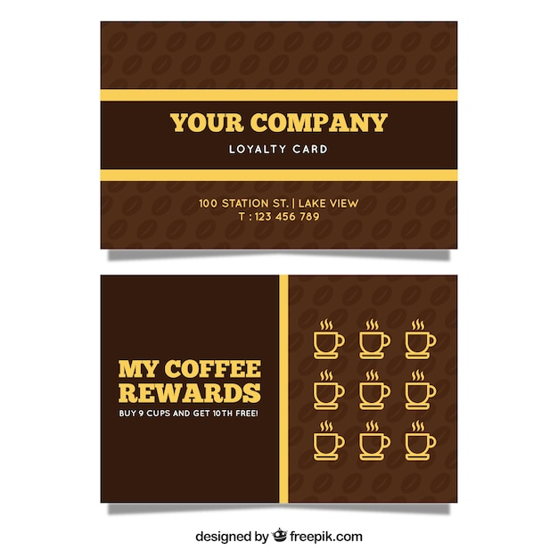 Modern coffee shop loyalty card template vector free download modern coffee shop loyalty card template free vector fbccfo Images