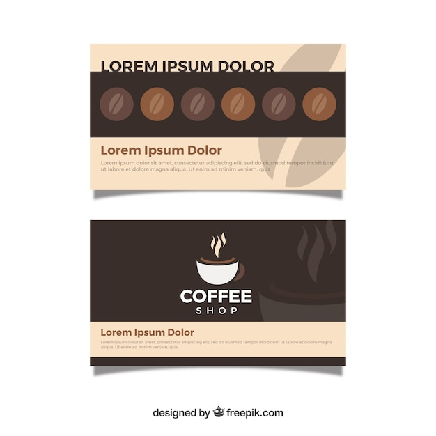 Modern coffee shop loyalty card template Free Vector