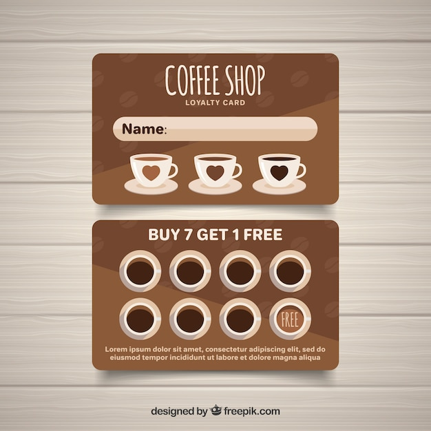 modern coffee shop loyalty card template vector free. Black Bedroom Furniture Sets. Home Design Ideas