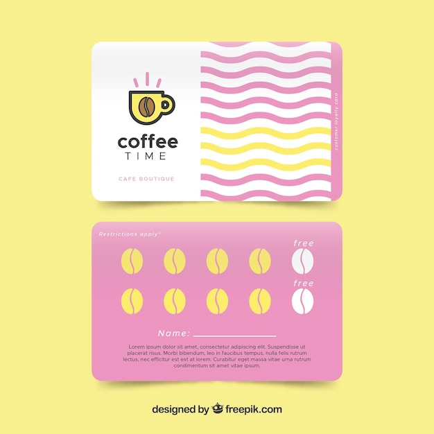 Modern coffee shop loyalty card template Vector | Free Download