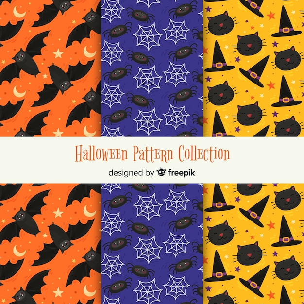 Modern collection of halloween patterns Free Vector