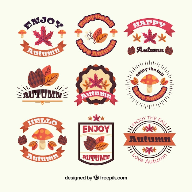 Modern collection of autumnal badges with flat design