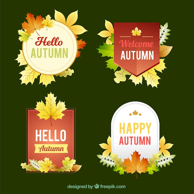 Modern collection of autumnal labels