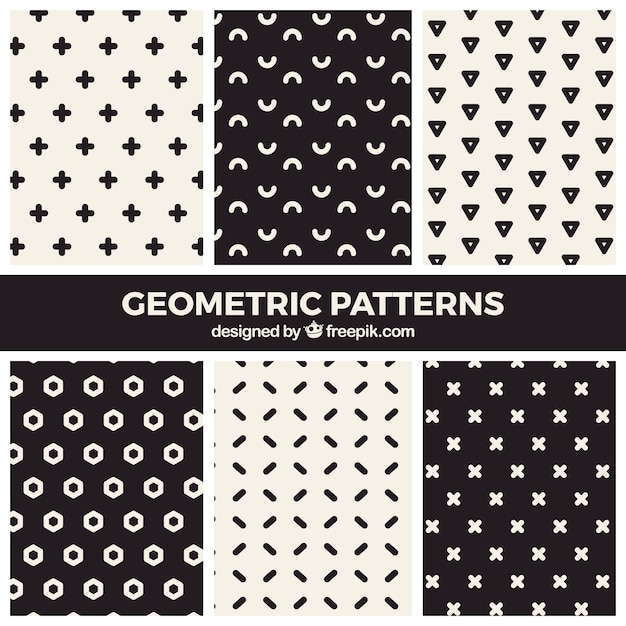 Modern collection of black and white geometric patterns