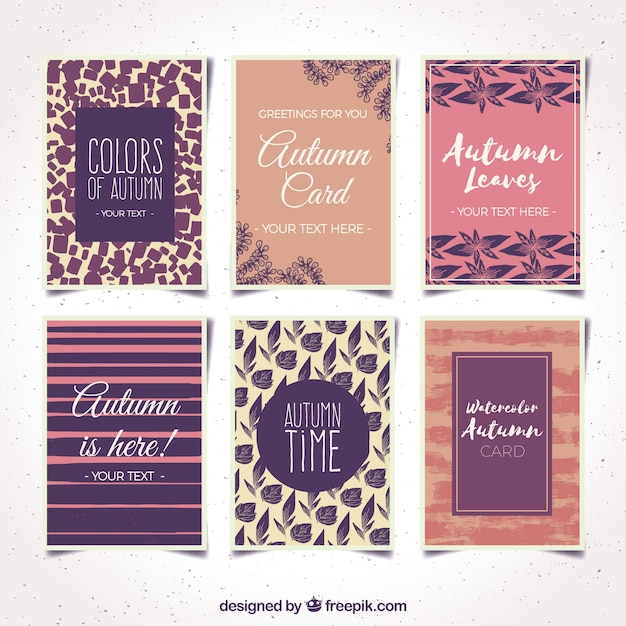 Modern collection of cards with autumnal style