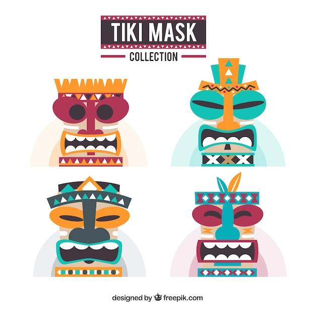 Modern collection of colorful tiki masks