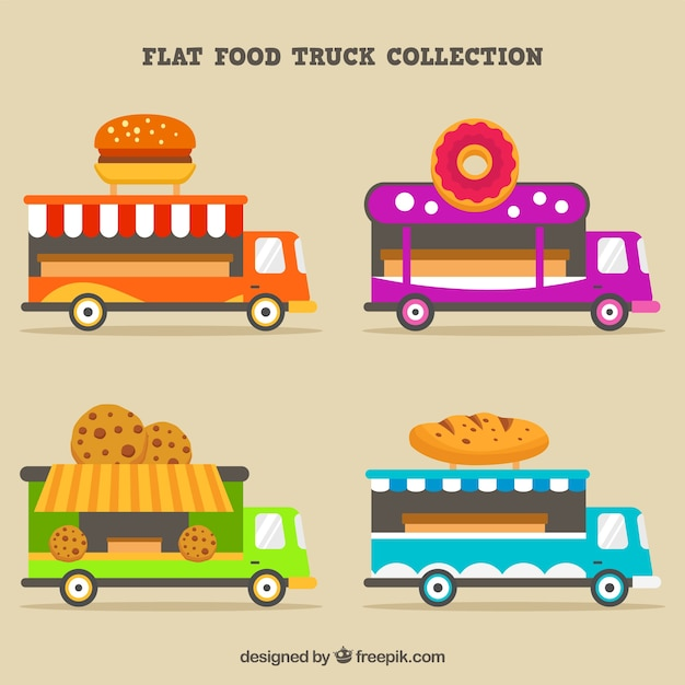 Modern collection of flat food trucks