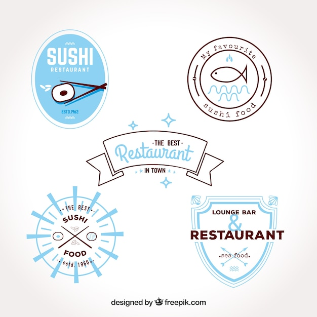 Modern collection of flat restaurant logos