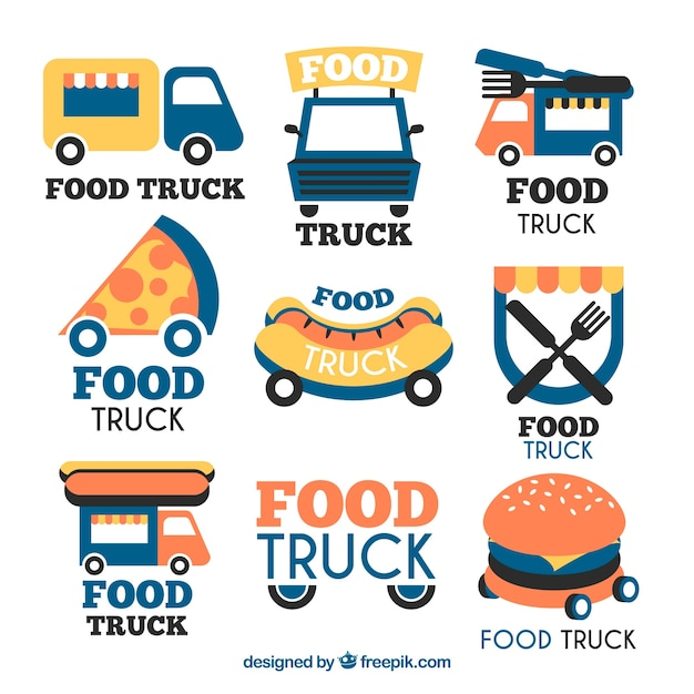 Modern collection of fun food truck logos
