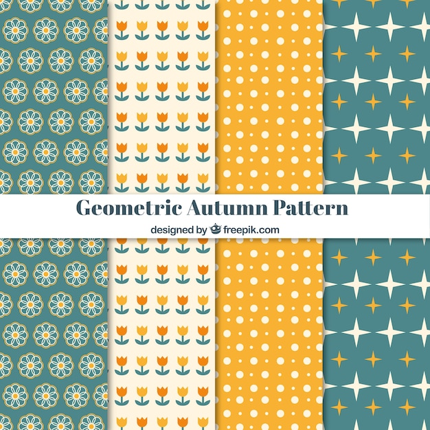 Modern collection of geometric autumn patterns
