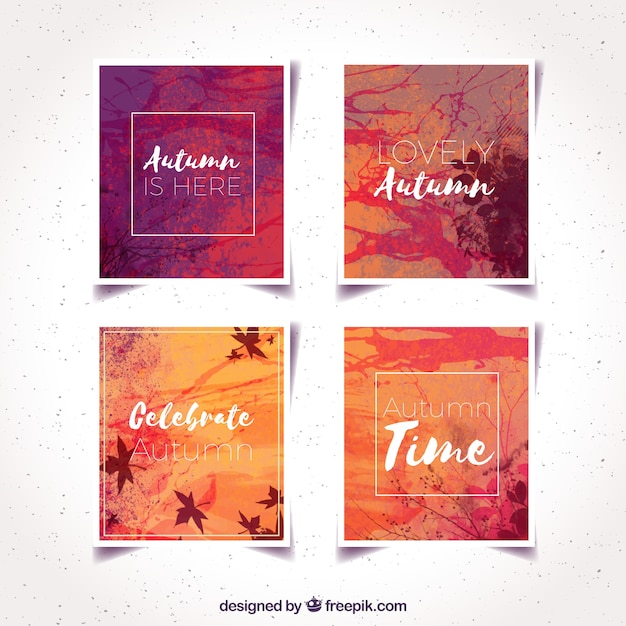Modern collection of watercolor autumn cards