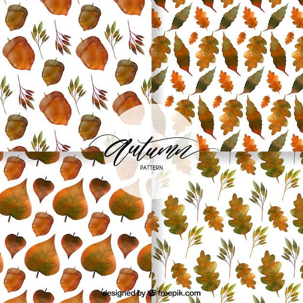 Modern collection of watercolor autumn patterns