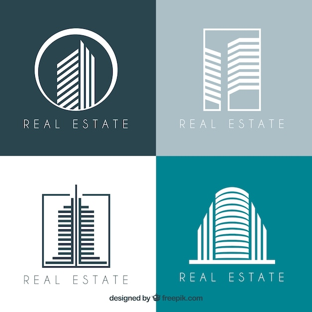 Modern collection of real estate logotypes Free Vector