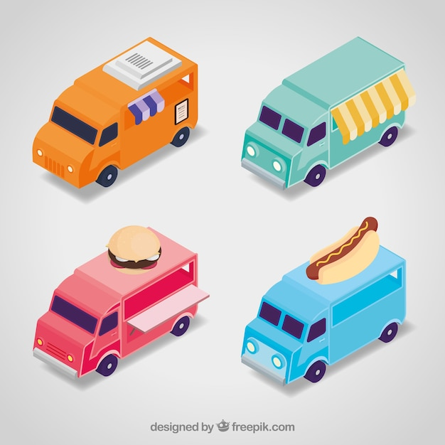 Modern collection with isometric food trucks