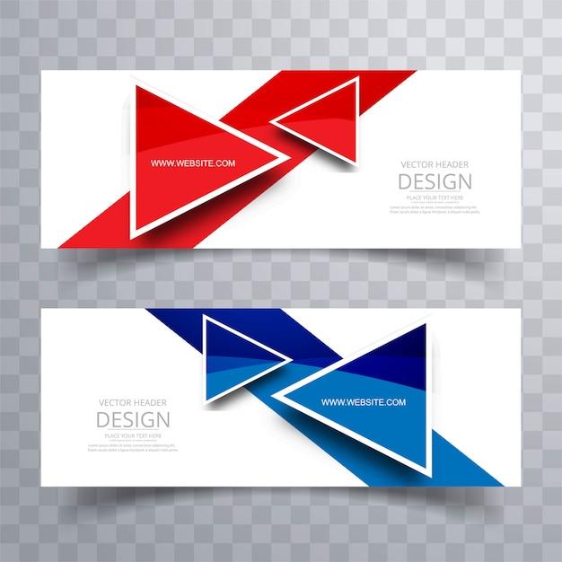 Modern coloful header set vector design Free Vector