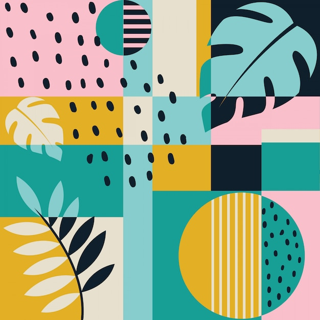 Modern color block tropical seamless pattern Premium Vector