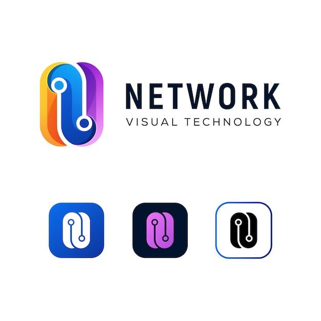 現代色文字n技術ロゴデザインテンプレート Premiumベクター