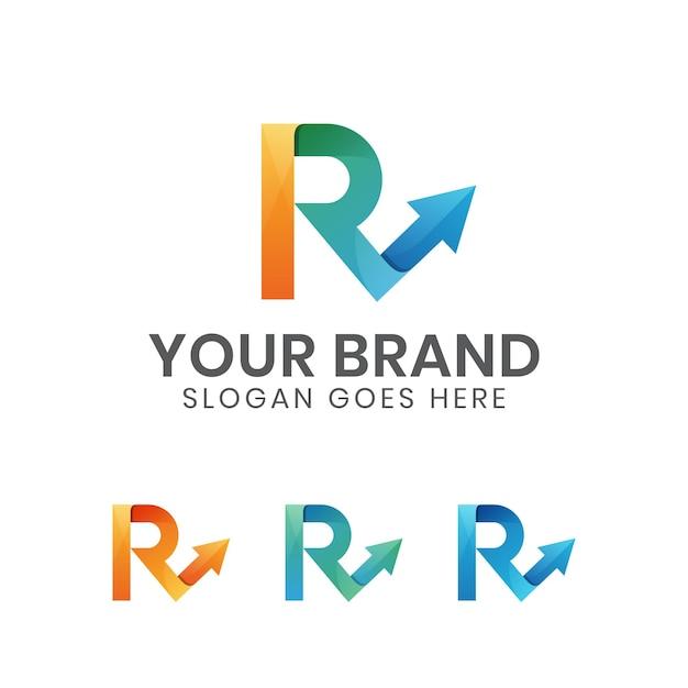 矢印のロゴが付いたモダンなカラー文字r Premiumベクター