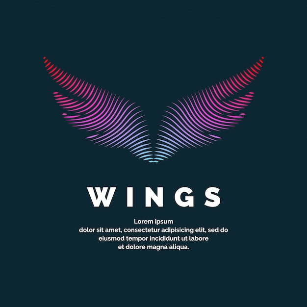 Modern colored logo wings. vector illustration on a dark background for advertising Premium Vector