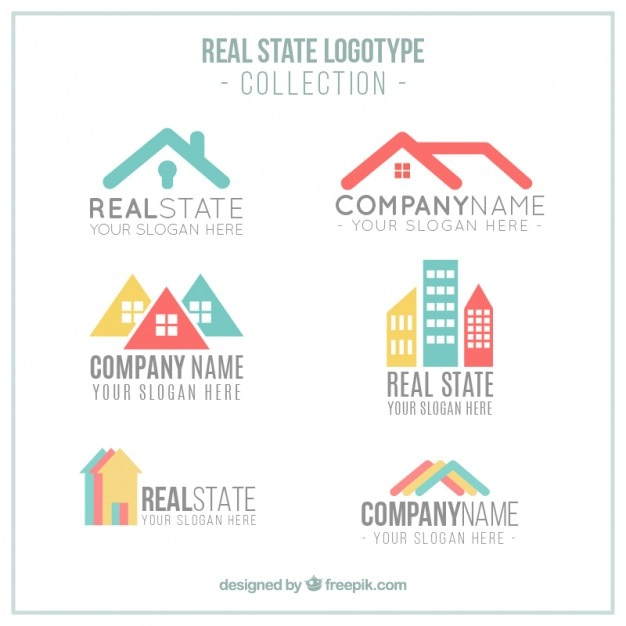 Modern colored real estate logotypes