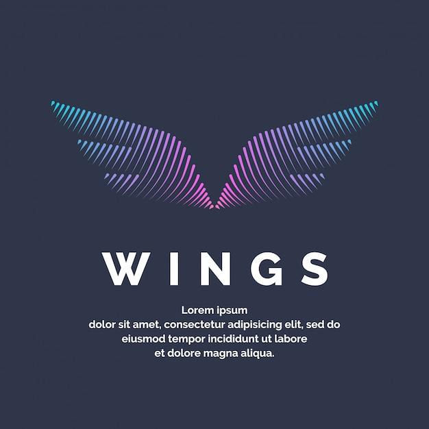 Modern colored wings in a futuristic style. vector illustration on a dark background for advertising Premium Vector