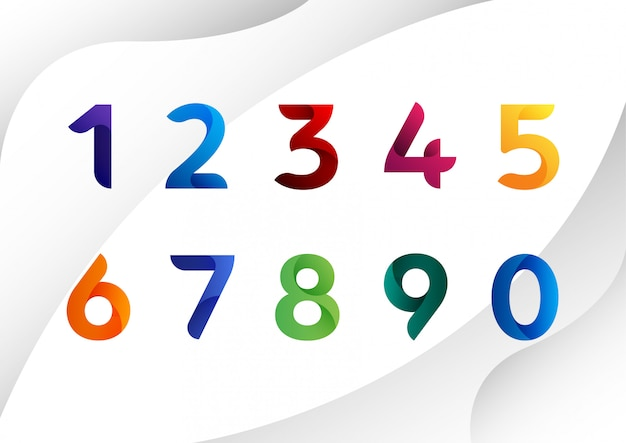 Modern colorful abstract numbers Premium Vector