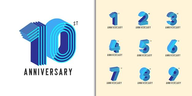 Modern colorful anniversary celebration set. Premium Vector