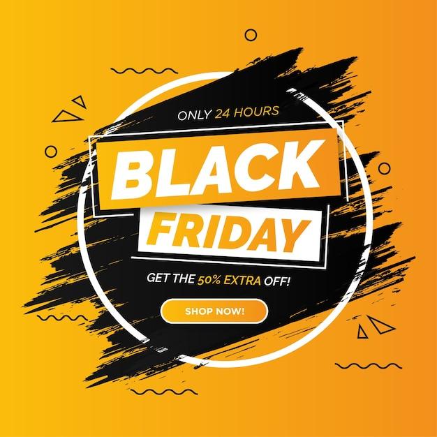Banner di vendita venerdì nero colorato moderno con tratto di pennello Vettore gratuito